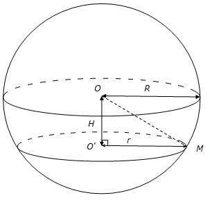 Rayon d'une section d'une sphère